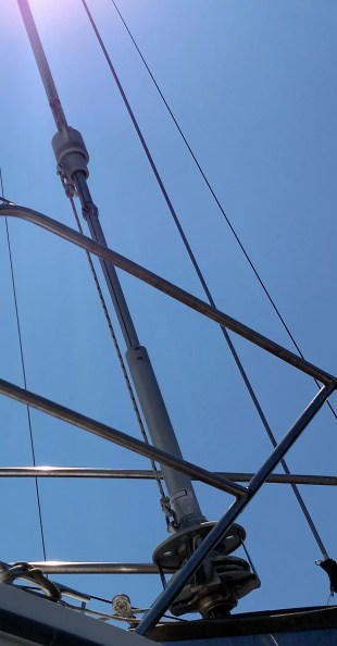 tie down your jib halyard so that it doesn't fly away.