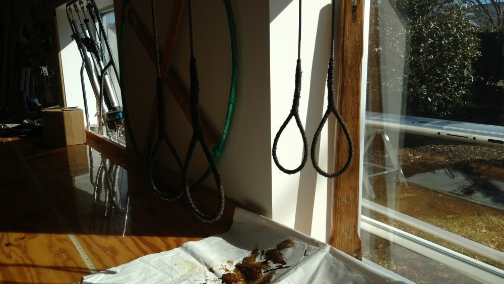 Memorial Gaff's Peak bridles waiting for the Tar to dry.