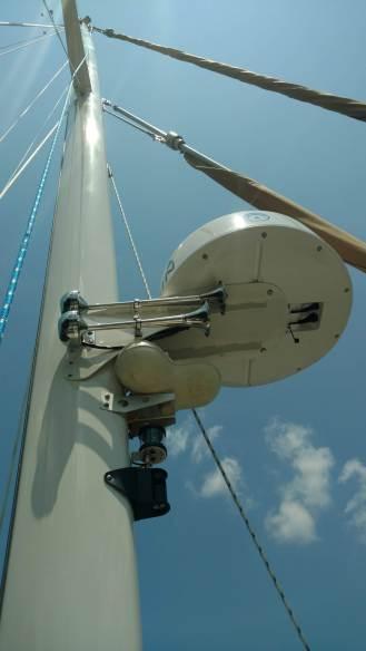 Valiant 42 Radar Nest. Hailer, Reflector. Custom OGM Signal mate Deck Steam. Electric air horn. and Garmin Radar Mount
