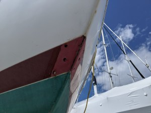 Prepping for a new Bob-stay Fitting. Lord Nelson 41