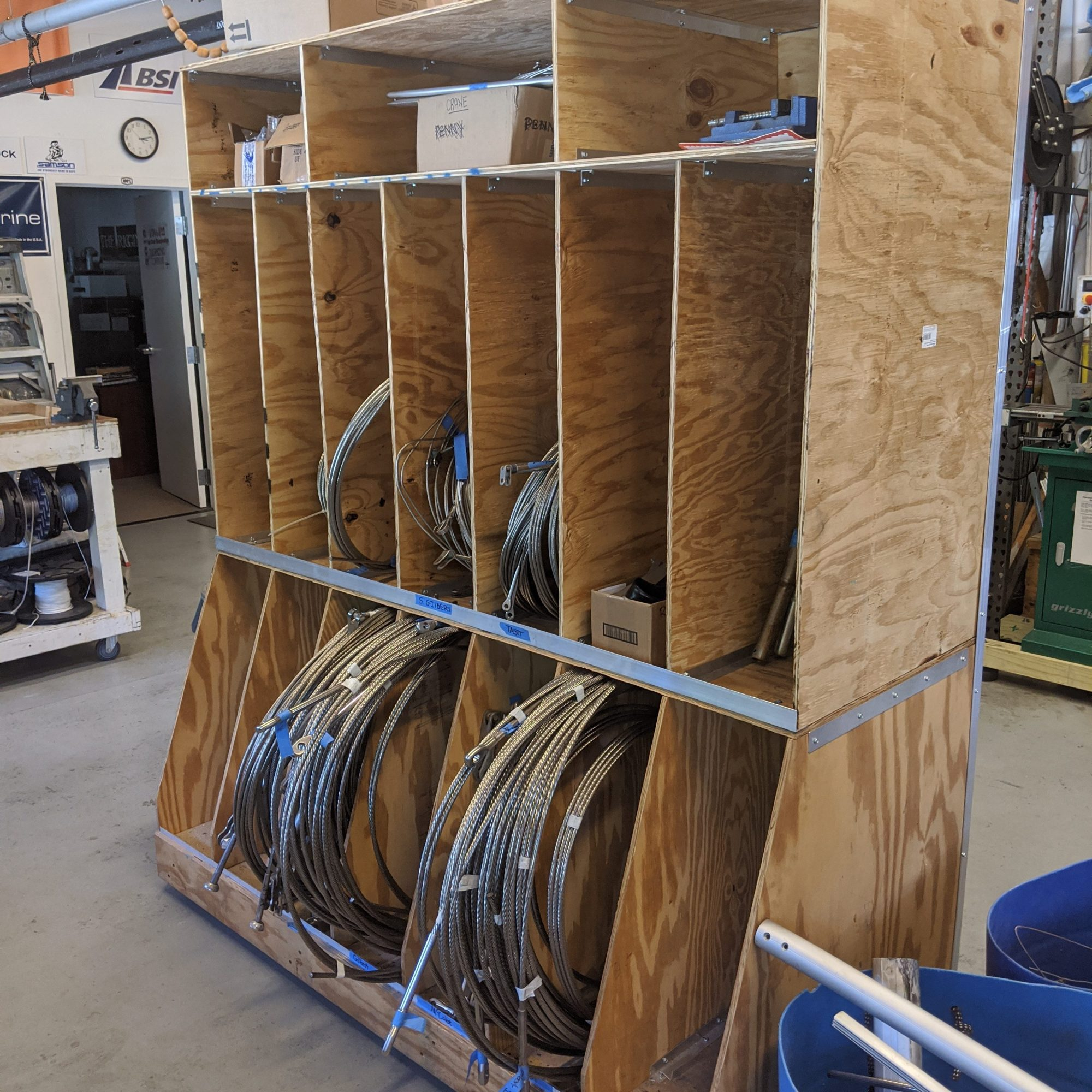 Wire and Rod Rigging storage box on wheels