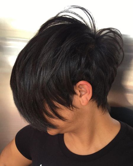 Tapered Pixie With Long Jagged Bangs