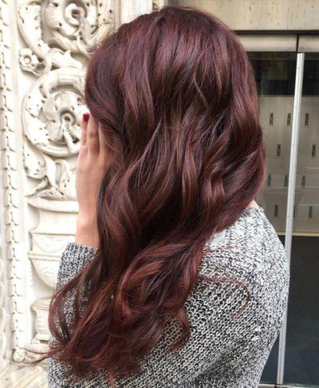 wavy burgundy hair