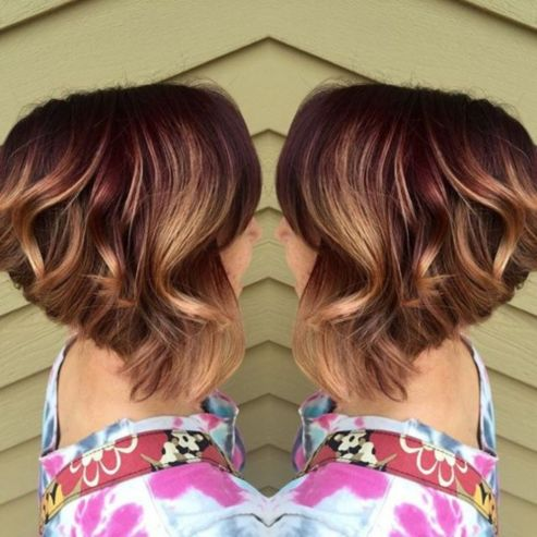 caramel and burgundy balayage highlights