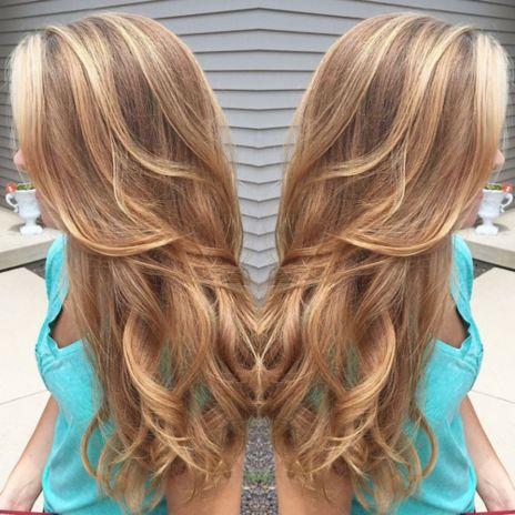 caramel hair color with highlights