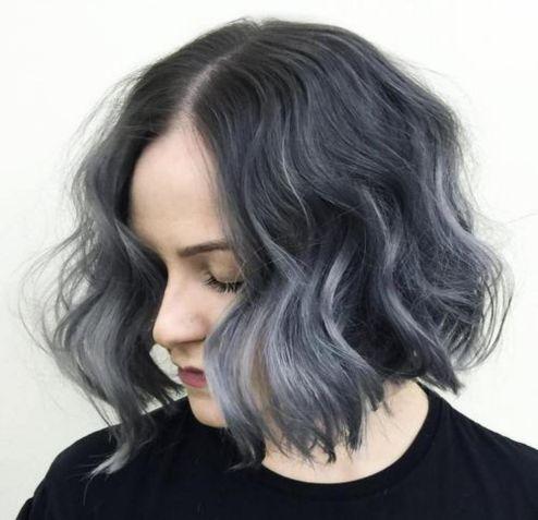 black wavy bob with gray ombre highlights