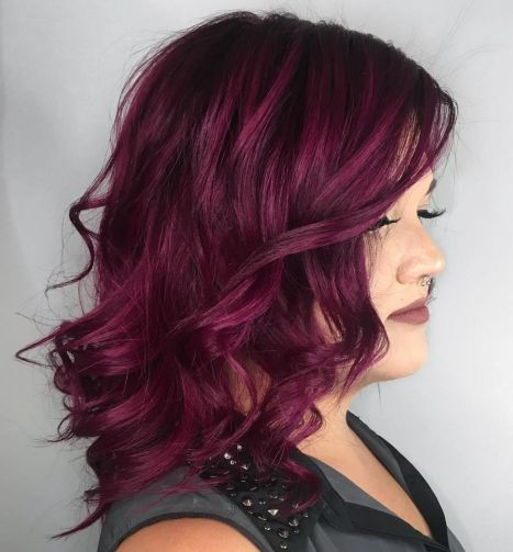 Curly Bright Burgundy Hairstyle