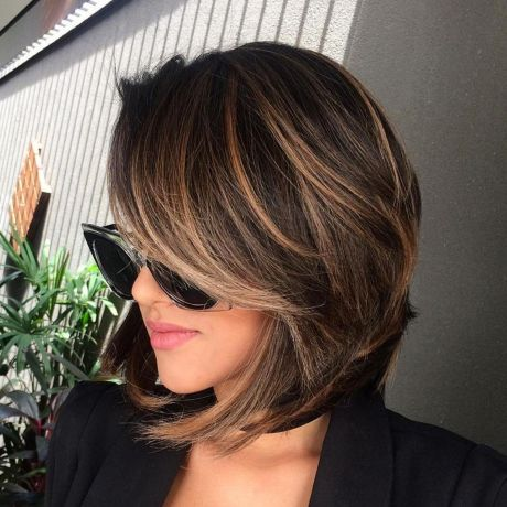 Brown Balayage Bob With Side Bangs