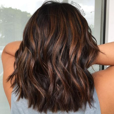 Chocolate Hair Color With Toasted Highlights