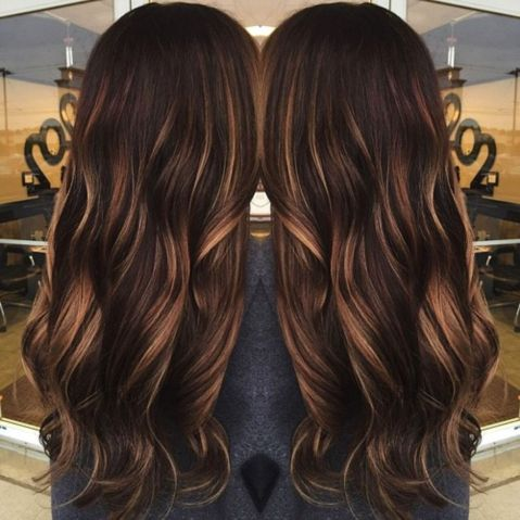 dark brown hair with caramel babylights