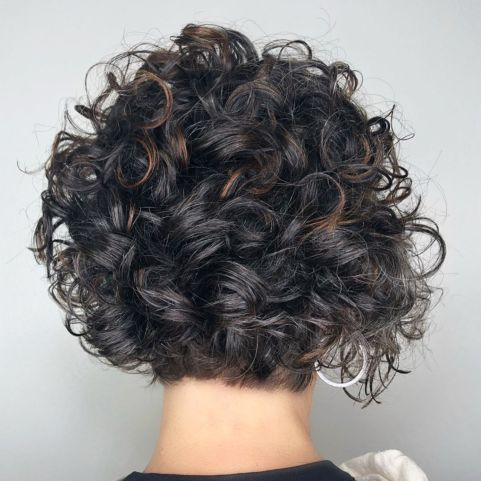 Short Curly Brunette Bob With Babylights
