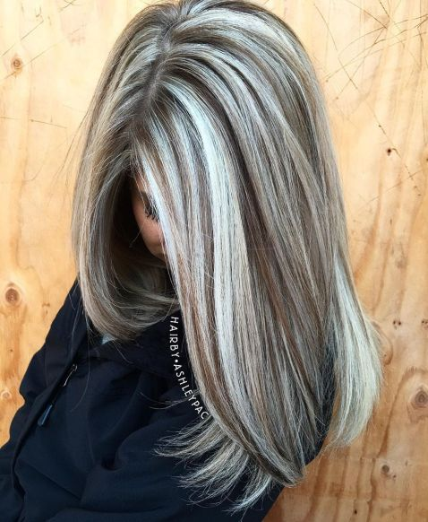 Warm Light Brown Hair With Silver Blonde Highlights