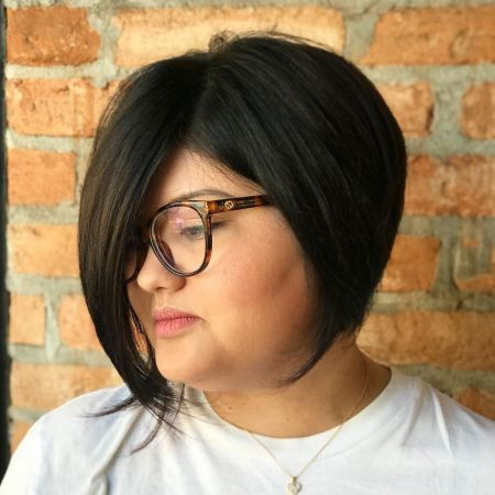 Short Angled Bob For Overweight Women