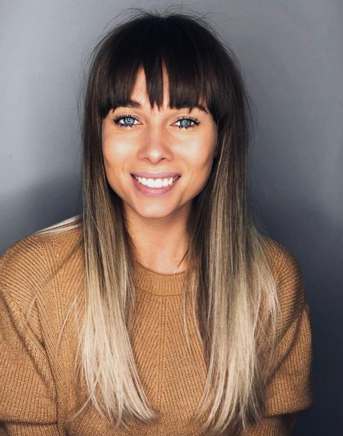 Long Straight Ombre Hair With Bangs