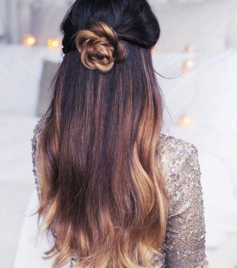 Half Up Flower Bun Hairstyle