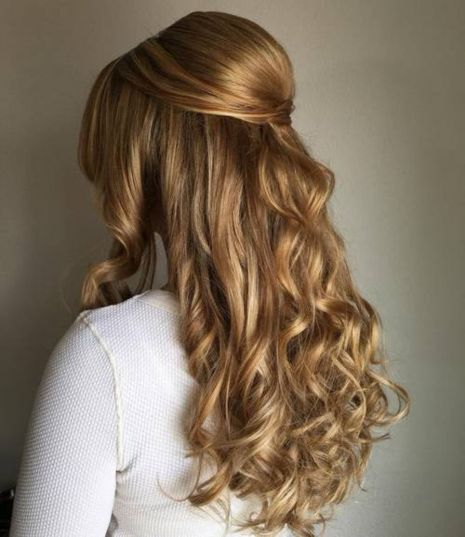 Curly Half Down Formal Bouffant Hairstyle