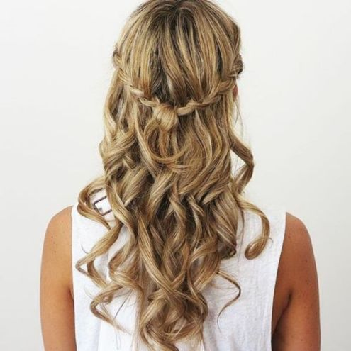 Half Updo With Side Waterfall Braids