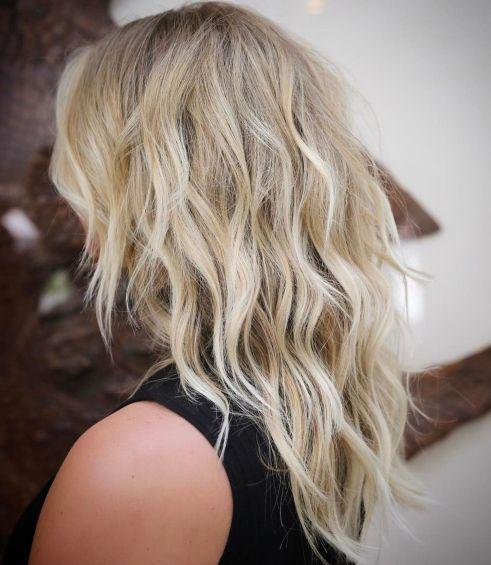 Medium Layered Wavy Blonde Hair Cut