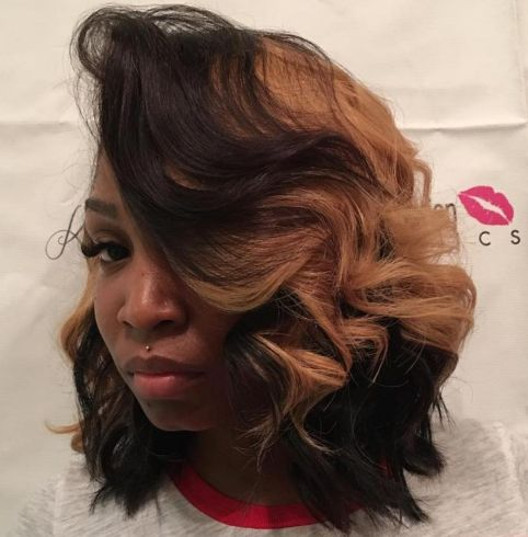 African American Curly Side Part Bob