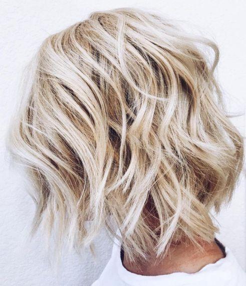Medium Length Shaggy Blonde Bob