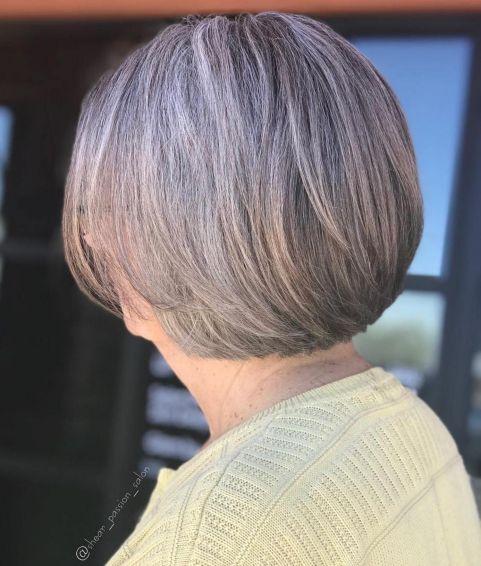 Short Gray Bob for Older Women