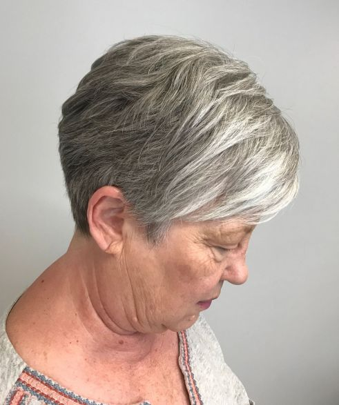 Gray Pixie Hairstyle over 70