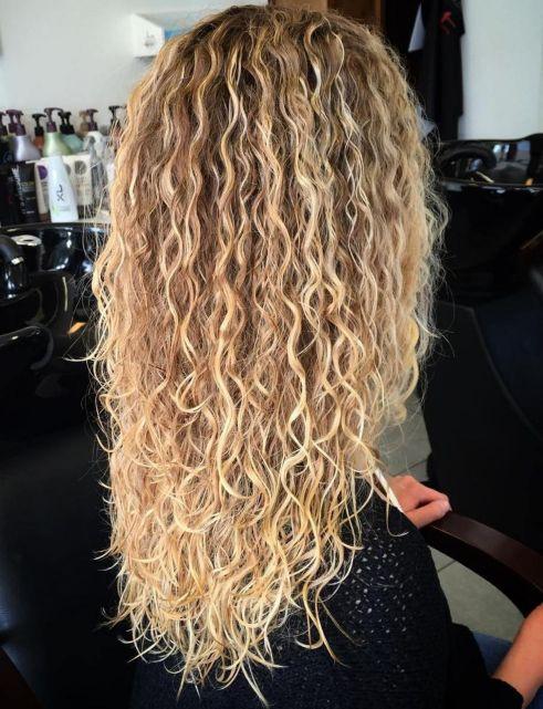 Long Brown Blonde Perm Hair