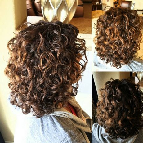 Shoulder-Length Brown Perm Hair With Highlights