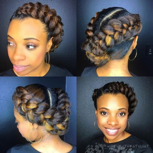 African American Two Braids And Side Bun Updo