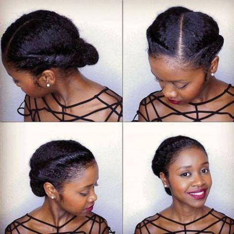 simple elegant updo for natural hair