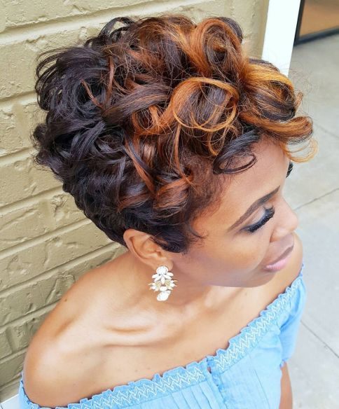Short Black Hairstyle With Curls