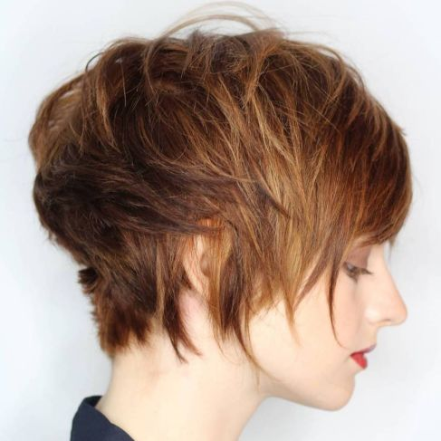 Long Brown Pixie With Highlights