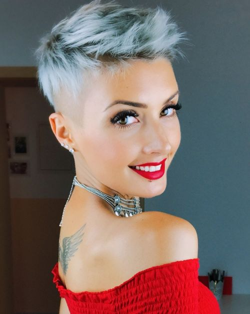 Short Half-Shaved Gray Hairstyle