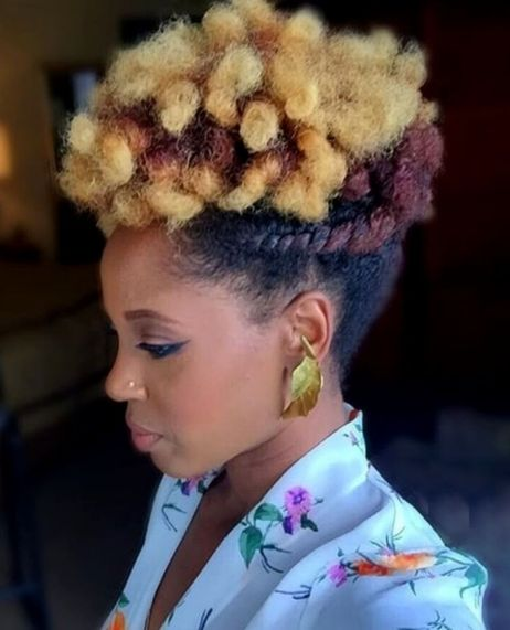 funky natural updo for short hair