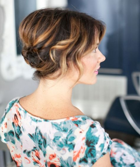 cute updo for short wavy hair