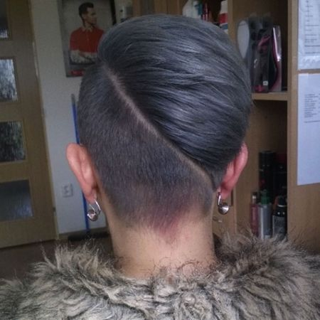 short women hairstyle with diagonal undercut