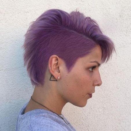 Asymmetrical Pastel Purple Pixie Undercut