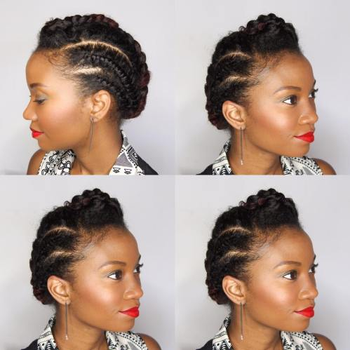Simple Braided Updo For Short Natural Hair