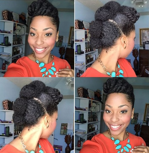 cute protective Mohawk updo for natural hair
