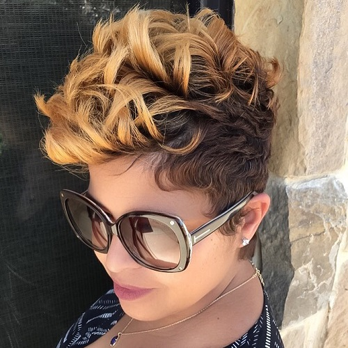 Black Girl Short Hairstyles love this short hair cut super cute and trendy Two Tone Short Curly Hairstyle