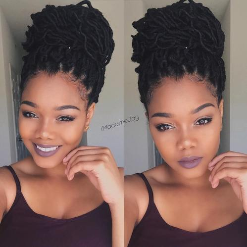 Bulky Bun From Thin Dreadlocks