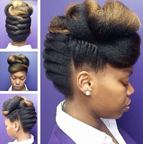 sophisticated black braided fauxhawk hairstyle