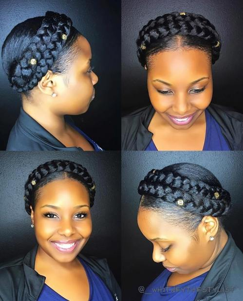 Protective Natural Hairstyle With A Double Braid