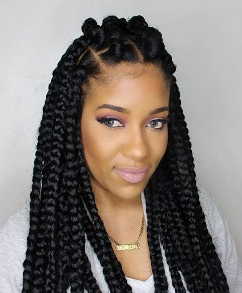 Thick Box Braids With Top Bantu Knots