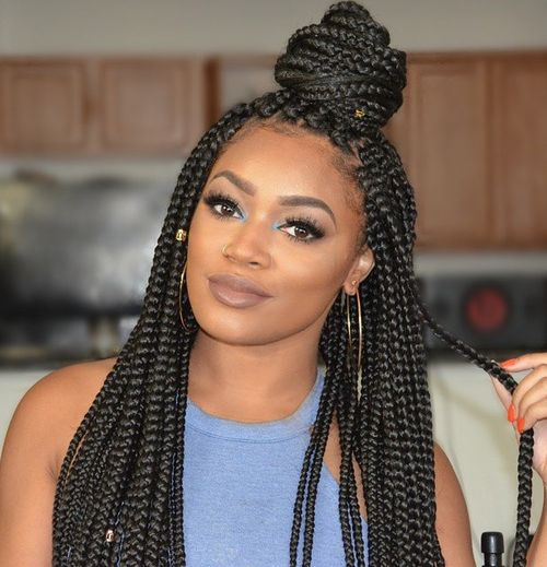 Box Braids In A Half Bun