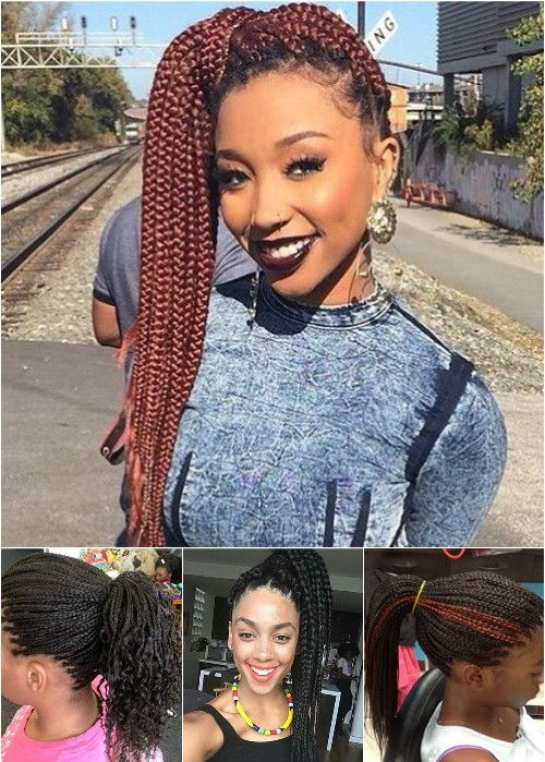 box braids ponytails