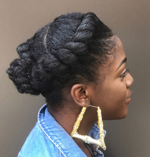 Casual Natural Flat Twisted Updo