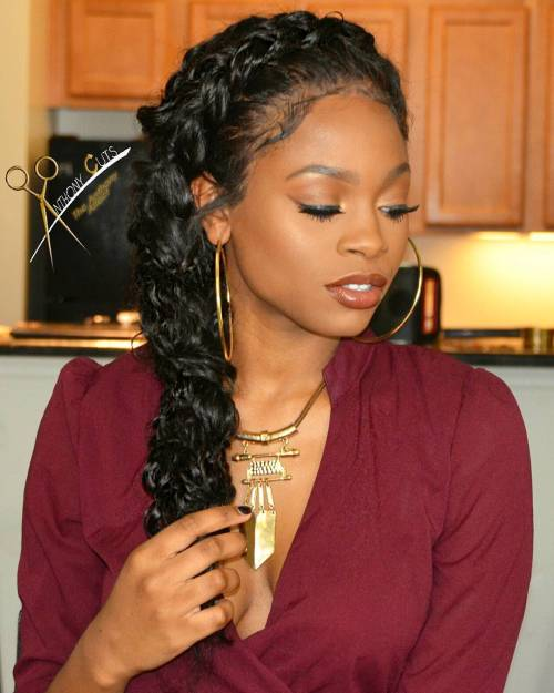 Side Messy Black Braid