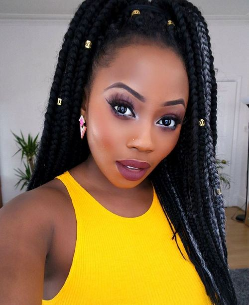 Black Box Braids With Beads