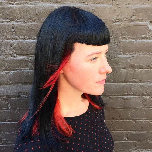 shoulder length straight hairstyle with cropped bangs